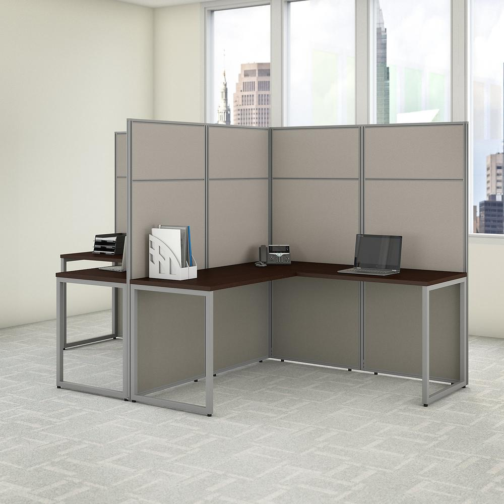 Bush Business Furniture Easy Office 60W 2 Person L Shaped Cubicle Desk Workstation with 66H Panels, Mocha Cherry. Picture 2