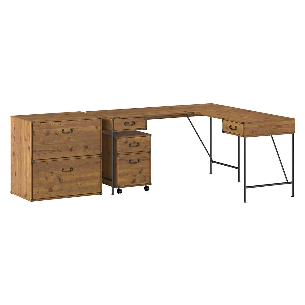 kathy ireland® Home by Bush Furniture Ironworks 60W L Shaped Writing Desk with File Cabinets, Vintage Golden Pine. Picture 1