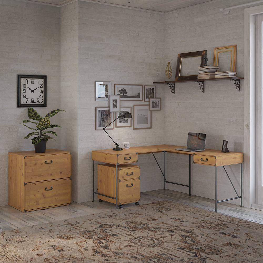 kathy ireland® Home by Bush Furniture Ironworks 60W L Shaped Writing Desk with File Cabinets, Vintage Golden Pine. Picture 2