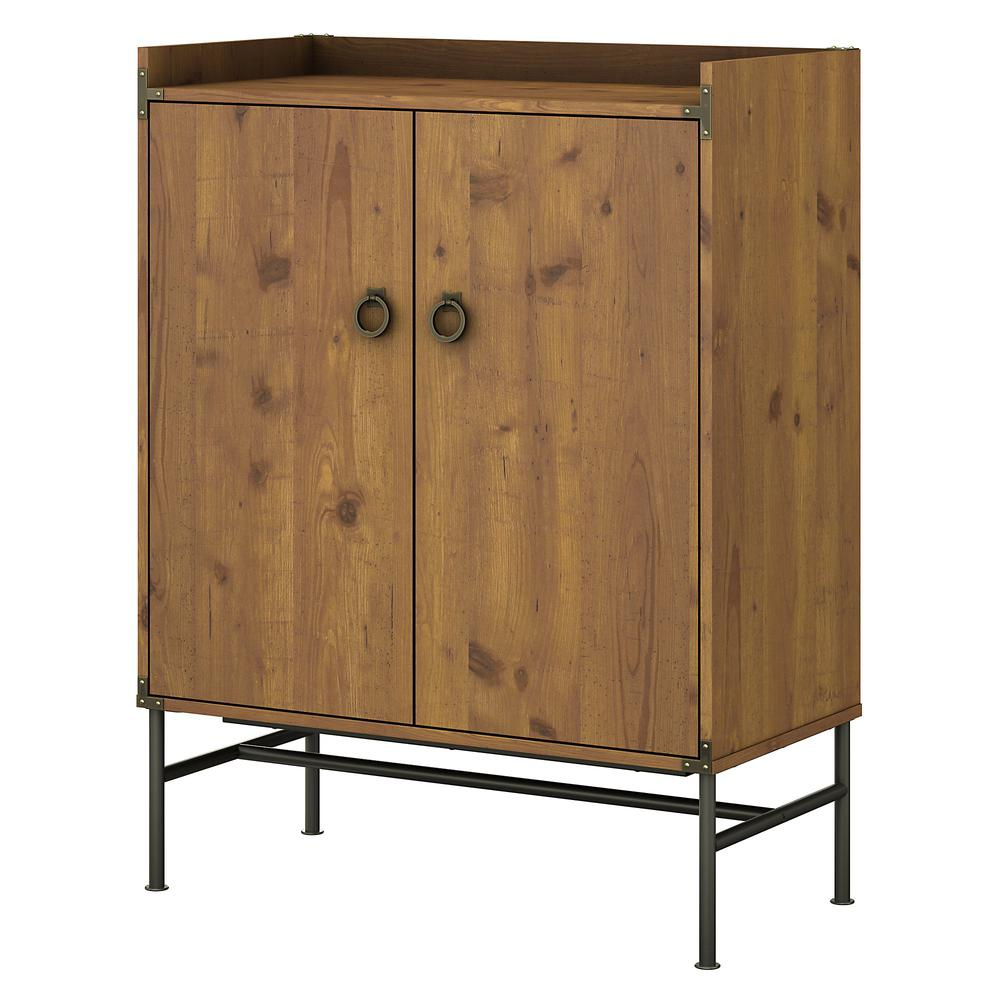 kathy ireland® Home by Bush Furniture Ironworks Storage Cabinet with Doors, Vintage Golden Pine. Picture 1