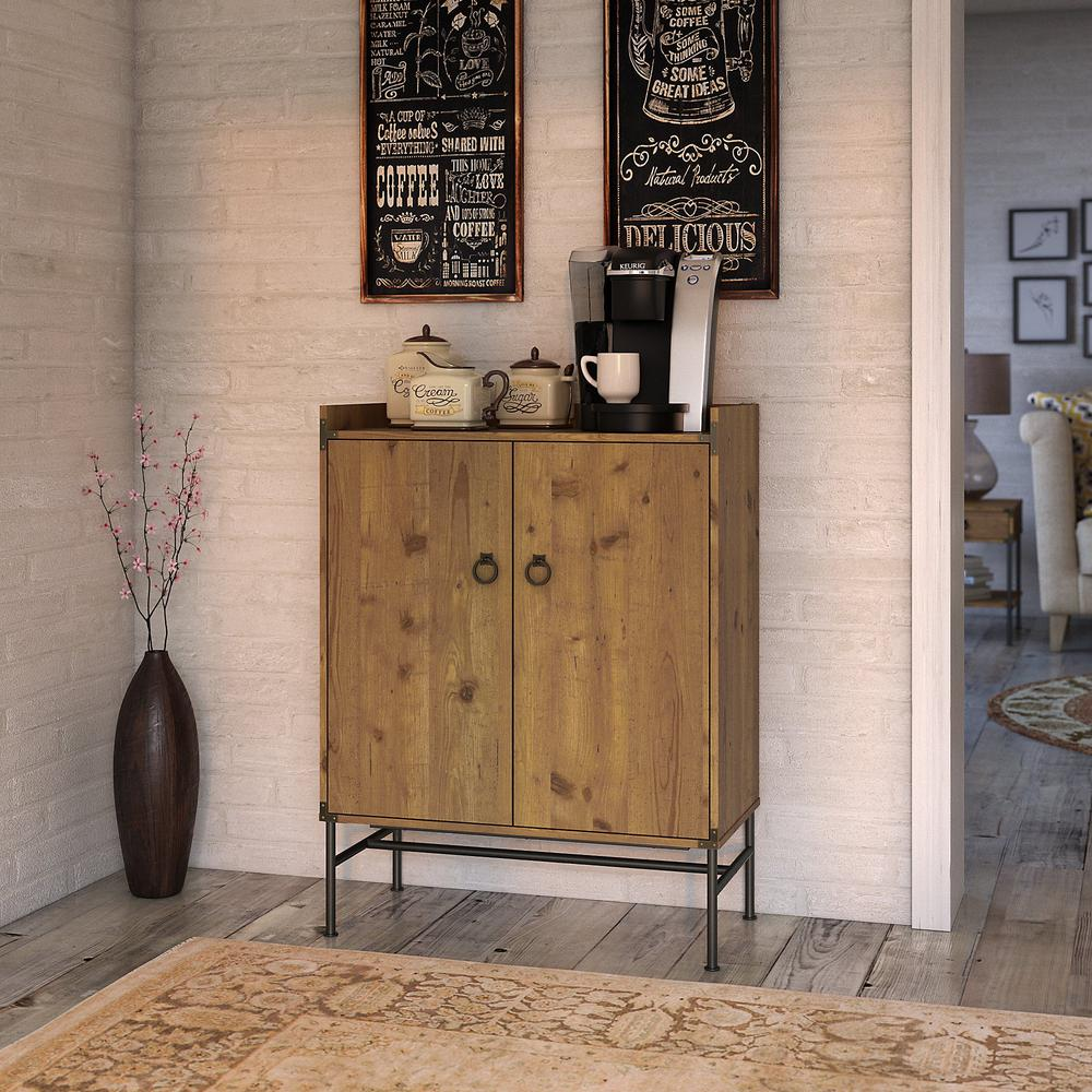 kathy ireland® Home by Bush Furniture Ironworks Storage Cabinet with Doors, Vintage Golden Pine. Picture 2