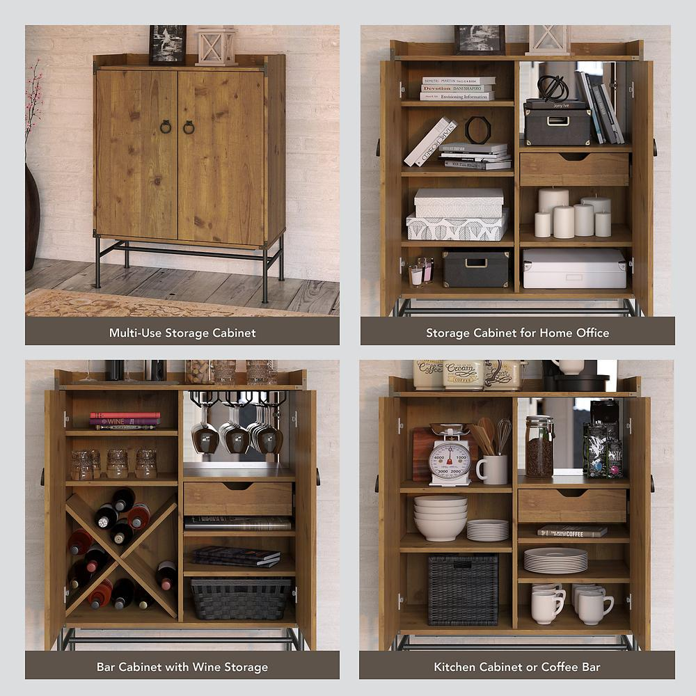 kathy ireland® Home by Bush Furniture Ironworks Storage Cabinet with Doors, Vintage Golden Pine. Picture 3