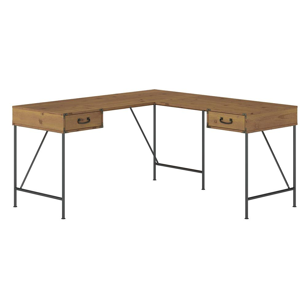 kathy ireland® Home by Bush Furniture Ironworks 60W L Shaped Writing Desk with Drawers
