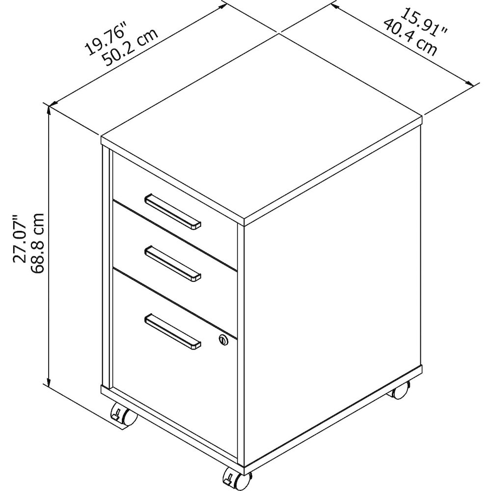 Office by kathy ireland® Method 3 Drawer Mobile File Cabinet - Assembled, Cocoa. Picture 5