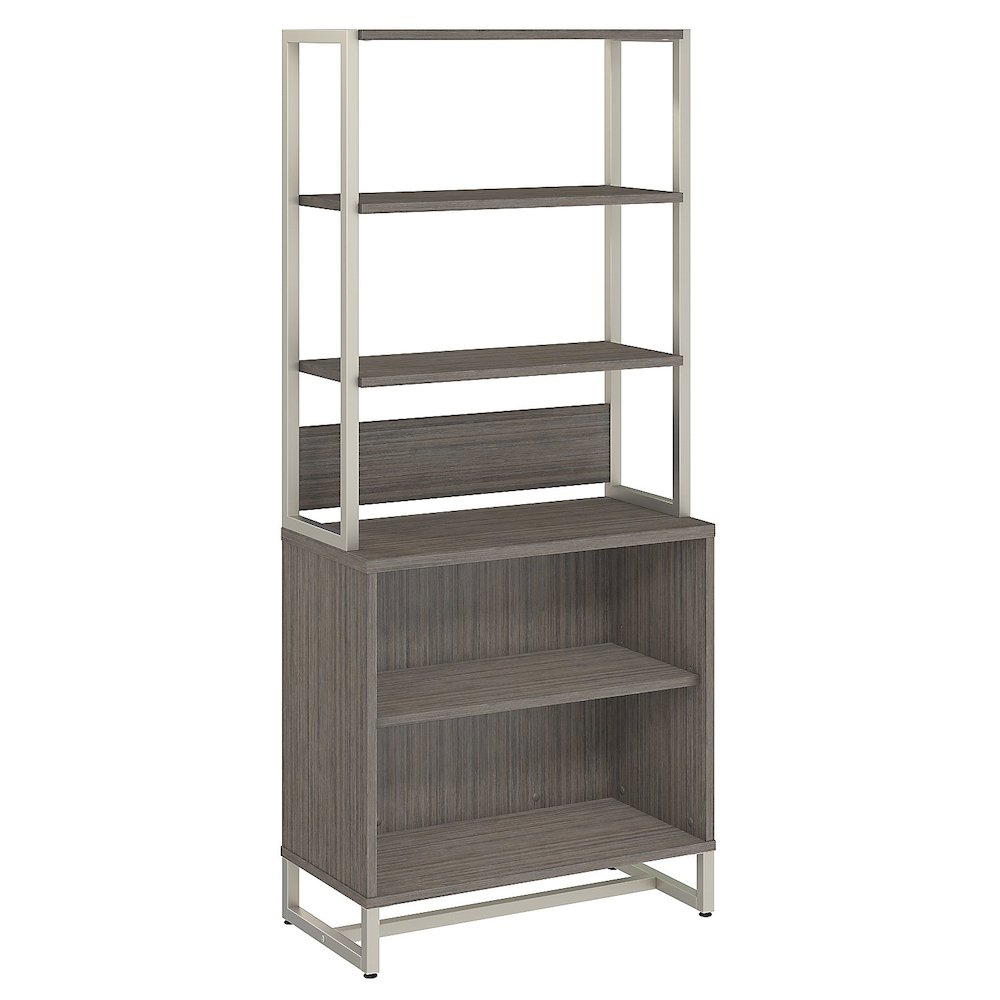 Office by kathy ireland® Method Bookcase with Hutch, Cocoa. Picture 1