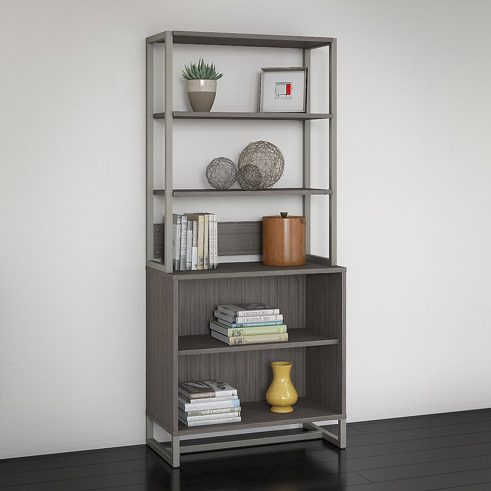 Office by kathy ireland® Method Bookcase with Hutch, Cocoa. Picture 2