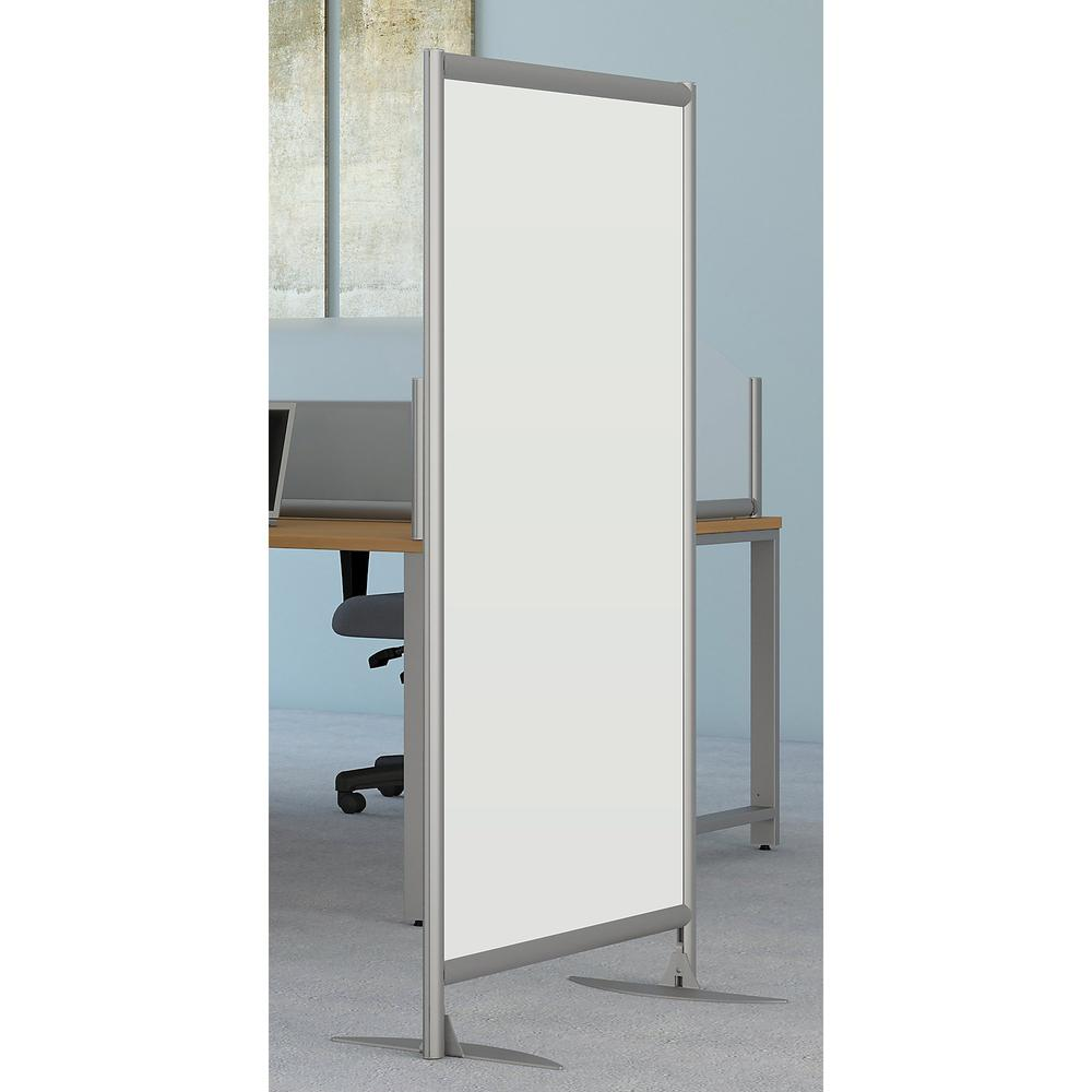 Bush Business Furniture Freestanding White Board Privacy Panel with Stationary Base, White/Anodized Aluminum. Picture 2