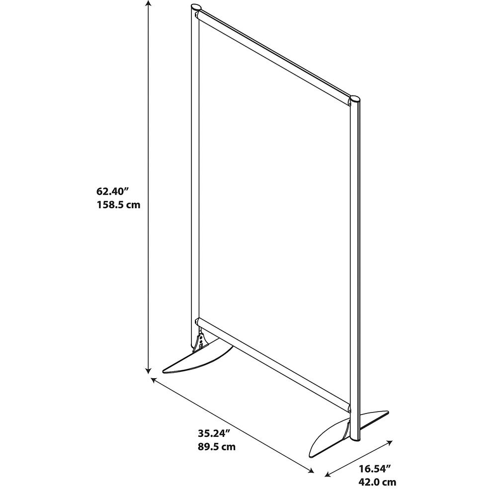 Bush Business Furniture Freestanding White Board Privacy Panel with Stationary Base, White/Anodized Aluminum. Picture 3
