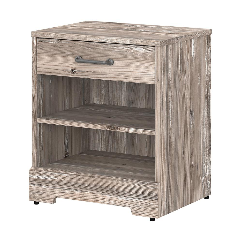 kathy ireland® Home by Bush Furniture River Brook Nightstand with Drawer, Barnwood. Picture 1