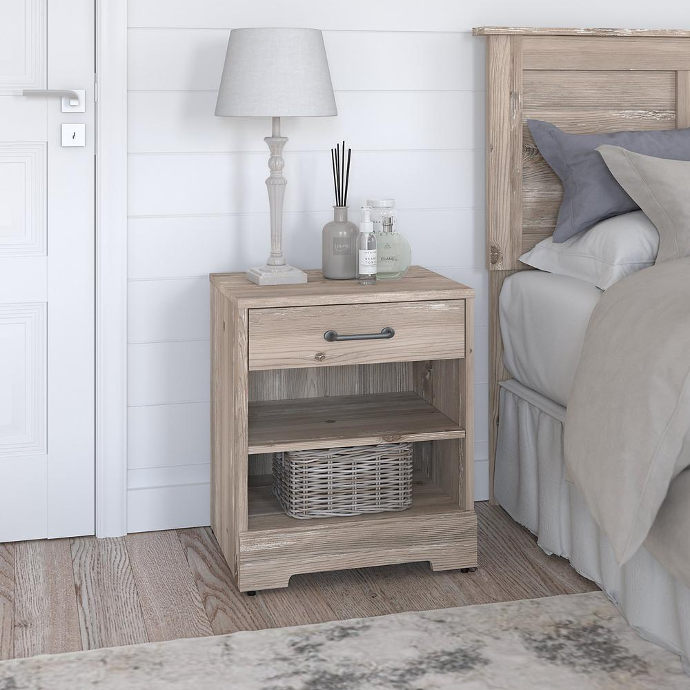 kathy ireland® Home by Bush Furniture River Brook Nightstand with Drawer, Barnwood. Picture 2