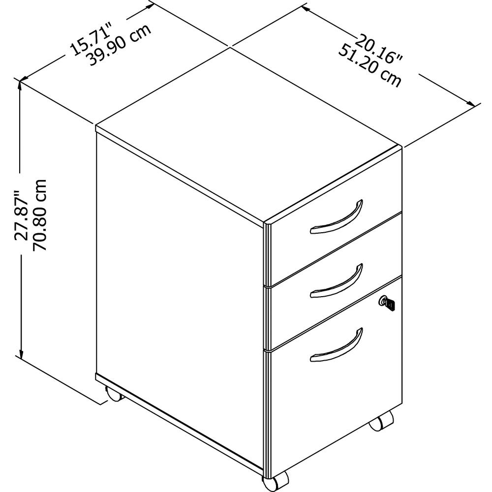 Bush Business Furniture Studio C 3 Drawer Mobile File Cabinet, Storm Gray. Picture 6