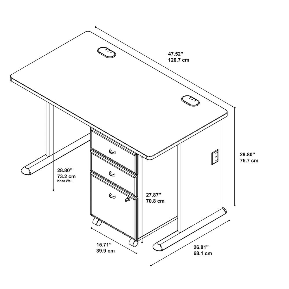 Series A 48W Desk with Mobile File Cabinet