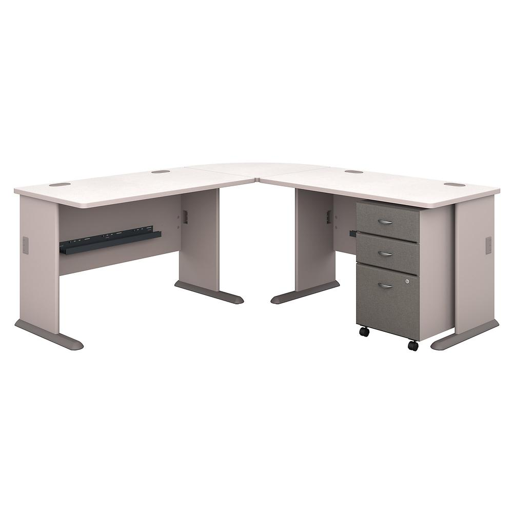 Bush Business Furniture Series A 75W x 75D L Shaped Desk with Mobile File Cabinet, Pewter/White Spectrum. Picture 1