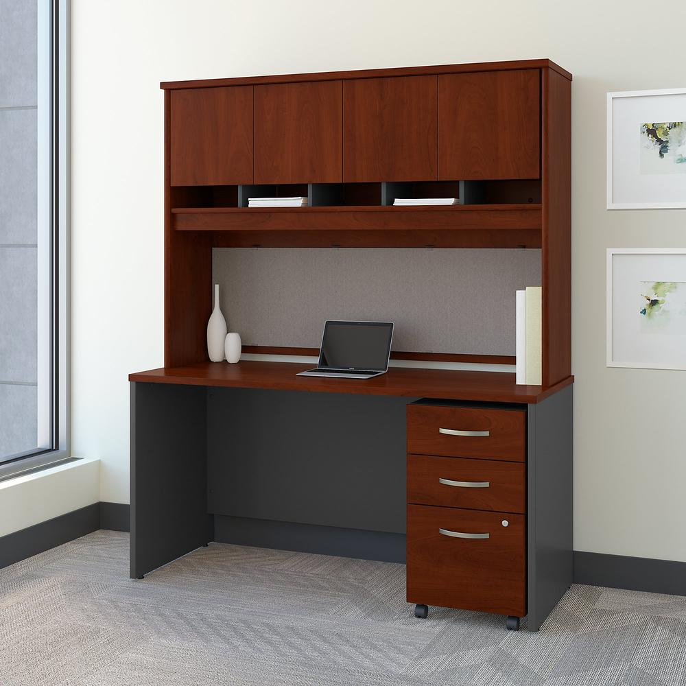 Bush Business Furniture Series C 60W x 24D Office Desk with Hutch and Mobile File Cabinet, Hansen Cherry. Picture 2