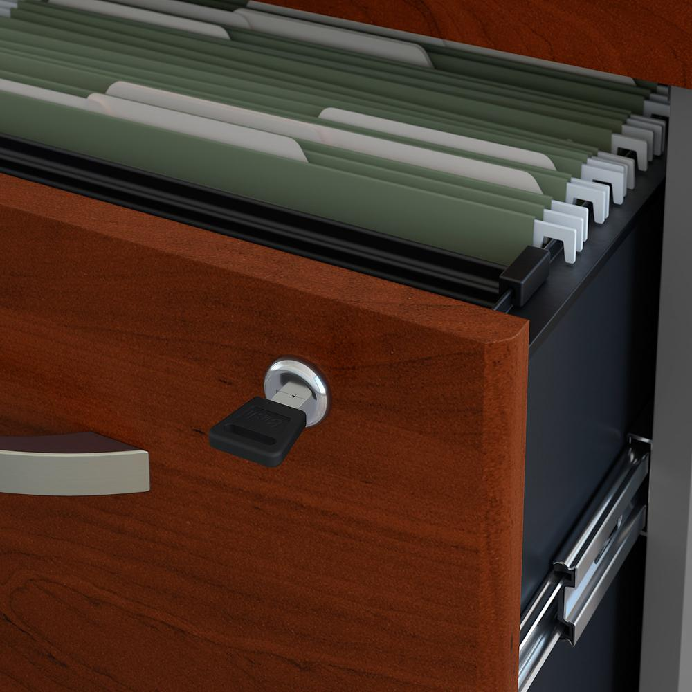 Bush Business Furniture Series C 60W x 24D Office Desk with Hutch and Mobile File Cabinet, Hansen Cherry. Picture 6