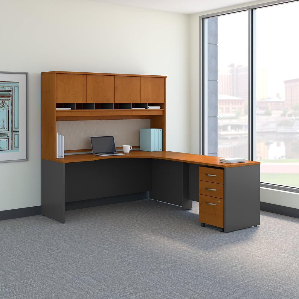 Bush Business Furniture Series C 72W Right Handed Corner Desk with Hutch and Mobile File Cabinet, Natural Cherry/Graphite Gray. Picture 2