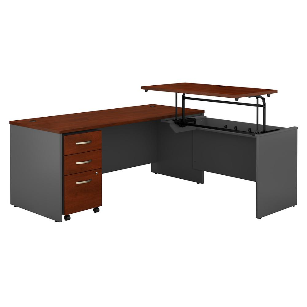 Bush Business Furniture Series C 72W x 30D 3 Position Sit to Stand L Shaped Desk with Mobile File Cabinet, Hansen Cherry/Graphite Gray. Picture 1
