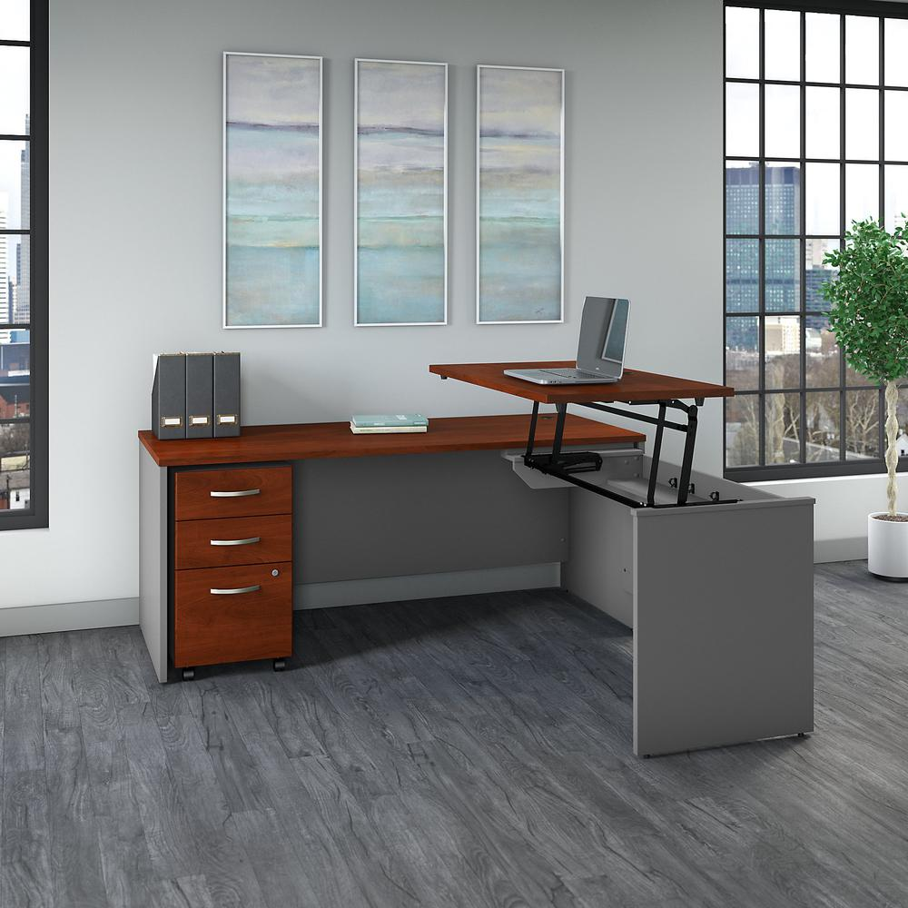 Bush Business Furniture Series C 72W x 30D 3 Position Sit to Stand L Shaped Desk with Mobile File Cabinet, Hansen Cherry/Graphite Gray. Picture 2