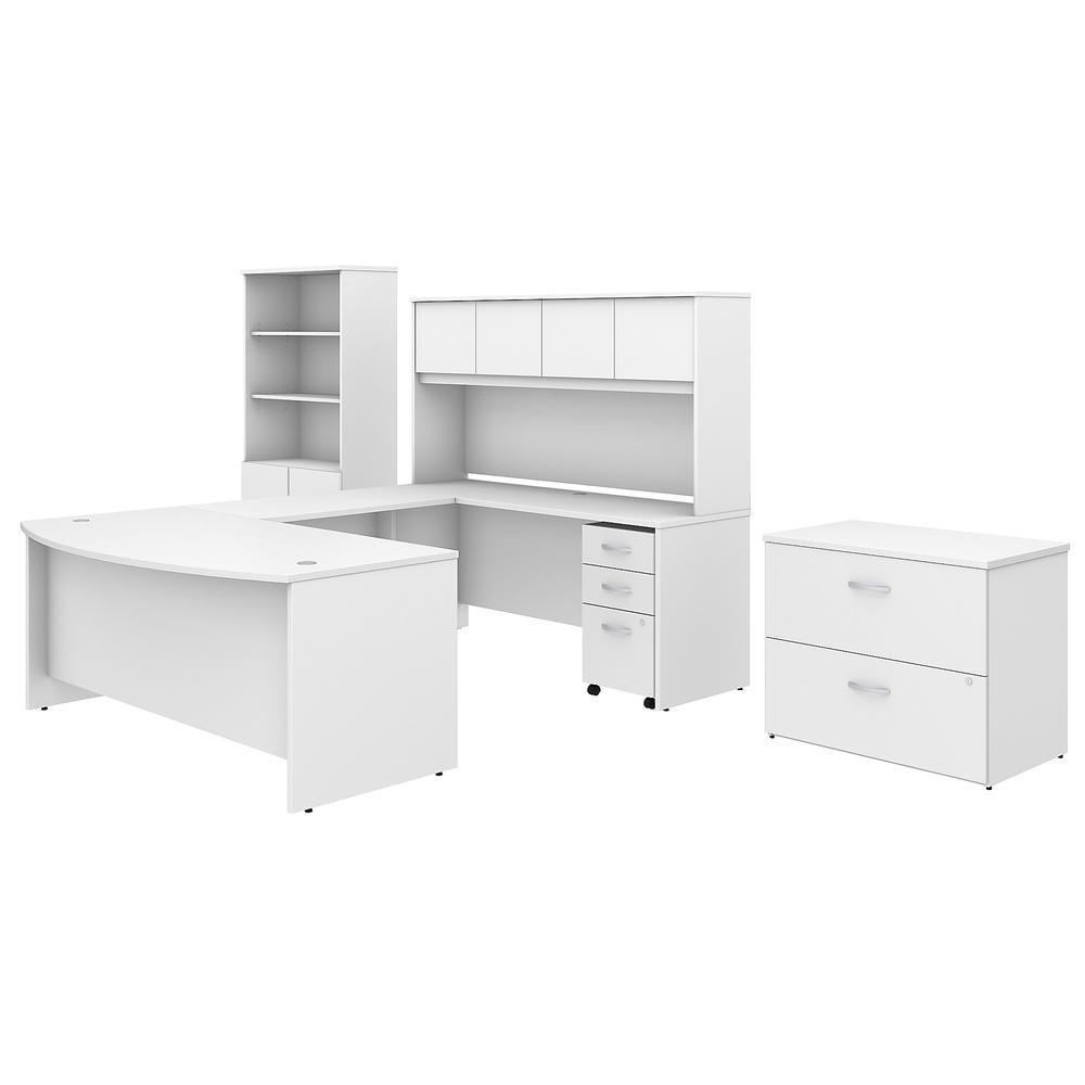 Bush Business Furniture Studio C 50W x 50D U Shaped Desk with Hutch,  Bookcase and File Cabinets, White