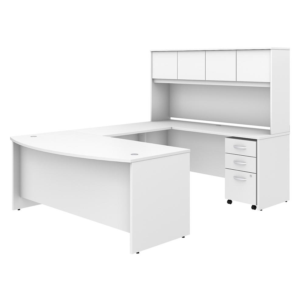 Bush Business Furniture Studio C 50W x 50D U Shaped Desk with Hutch and  Mobile File Cabinet, White