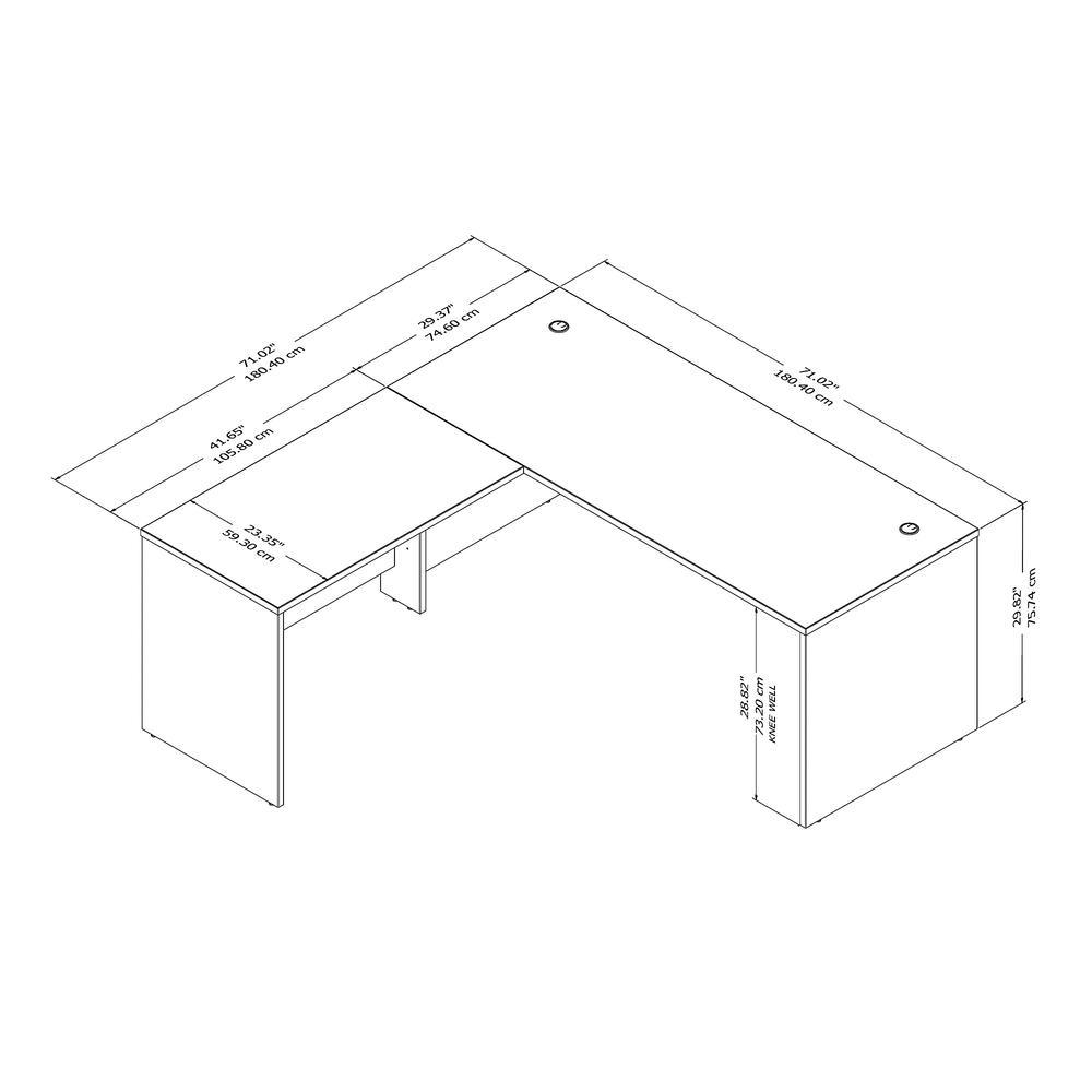 Studio C 72W x 30D L Shaped Desk with 42W Return, Storm Gray. Picture 4