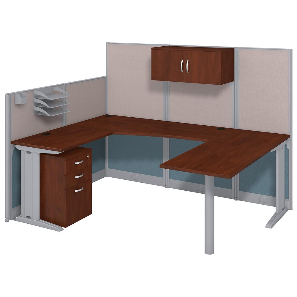 Bush Business Furniture Office in an Hour 89W x 65D U Shaped Cubicle Workstation with Storage, Hansen Cherry. Picture 1