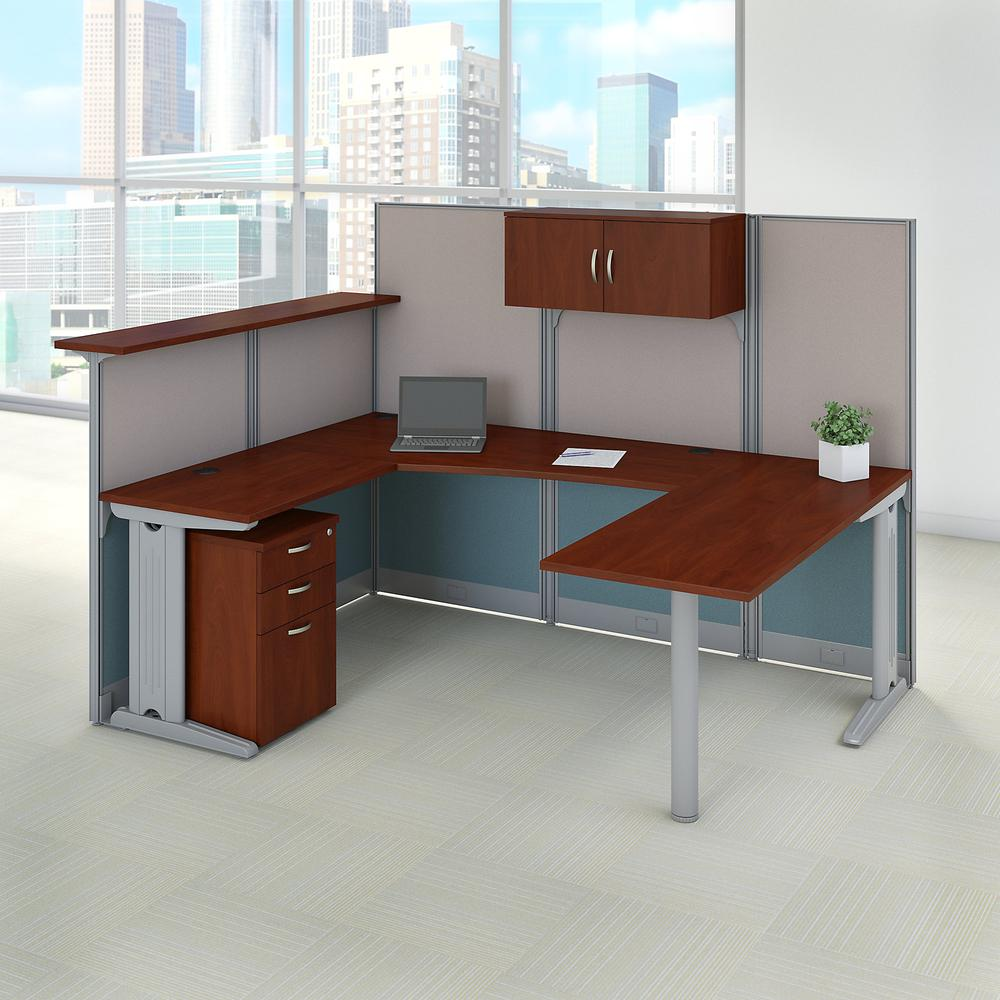 Bush Business Furniture Office in an Hour 89W x 65D U Shaped Cubicle Workstation with Storage, Hansen Cherry. Picture 10
