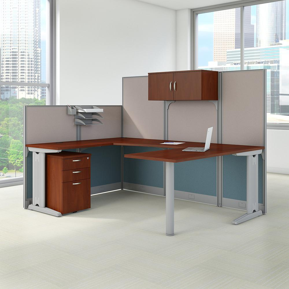 Bush Business Furniture Office in an Hour 89W x 65D U Shaped Cubicle Workstation with Storage, Hansen Cherry. Picture 2