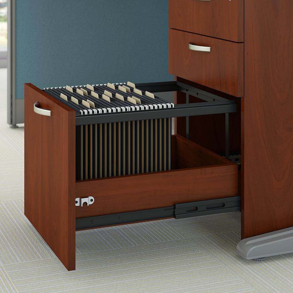 Bush Business Furniture Office in an Hour 89W x 65D U Shaped Cubicle Workstation with Storage, Hansen Cherry. Picture 3