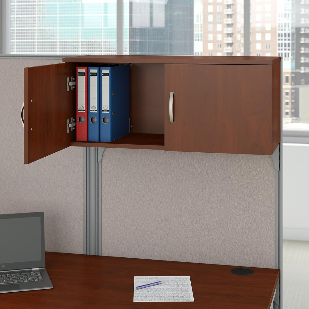 Bush Business Furniture Office in an Hour 89W x 65D U Shaped Cubicle Workstation with Storage, Hansen Cherry. Picture 4