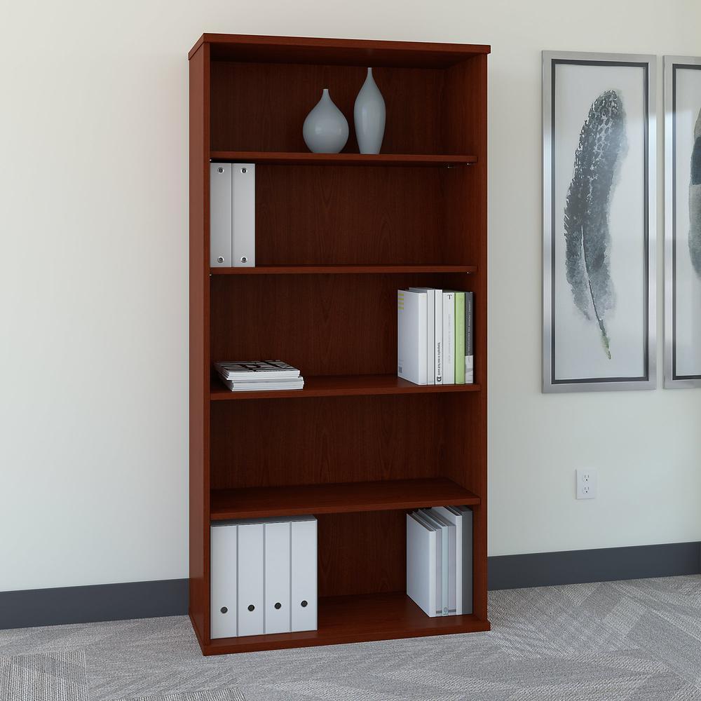 Bush Business Furniture Series C 36W 5 Shelf Bookcase, Mahogany. Picture 2