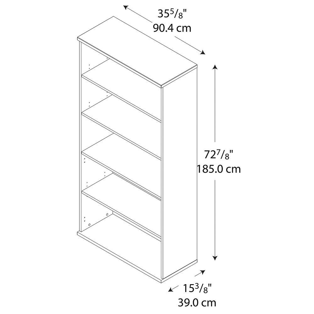 Bush Business Furniture Series C 36W 5 Shelf Bookcase, Mahogany. Picture 3