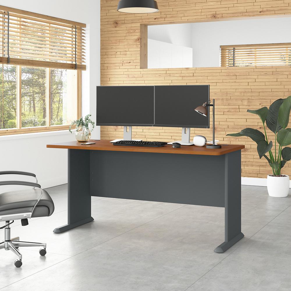Bush Business Furniture Series A 60W Desk, Natural Cherry/Slate. Picture 2