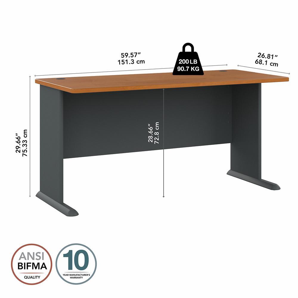 Bush Business Furniture Series A 60W Desk, Natural Cherry/Slate. Picture 5