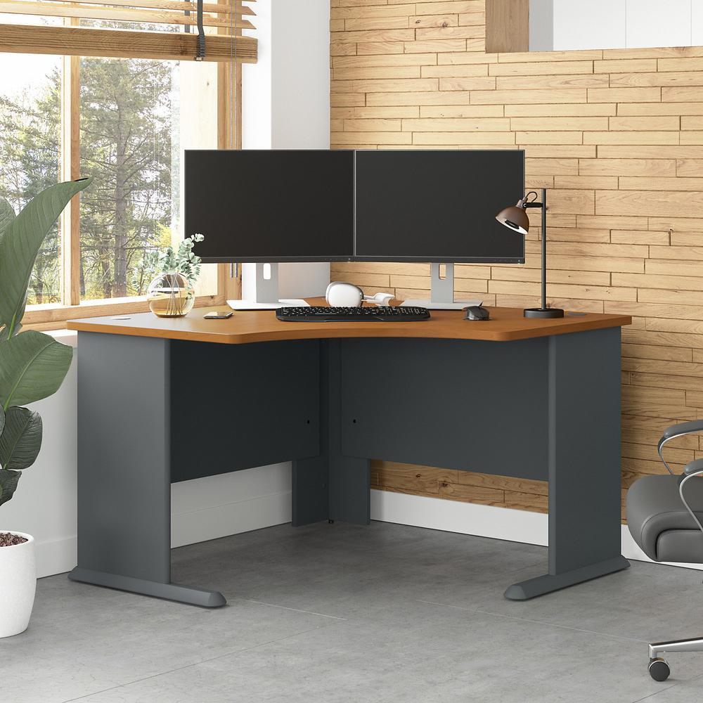 Bush Business Furniture Series A 48W Corner Desk, Natural Cherry/Slate. Picture 2