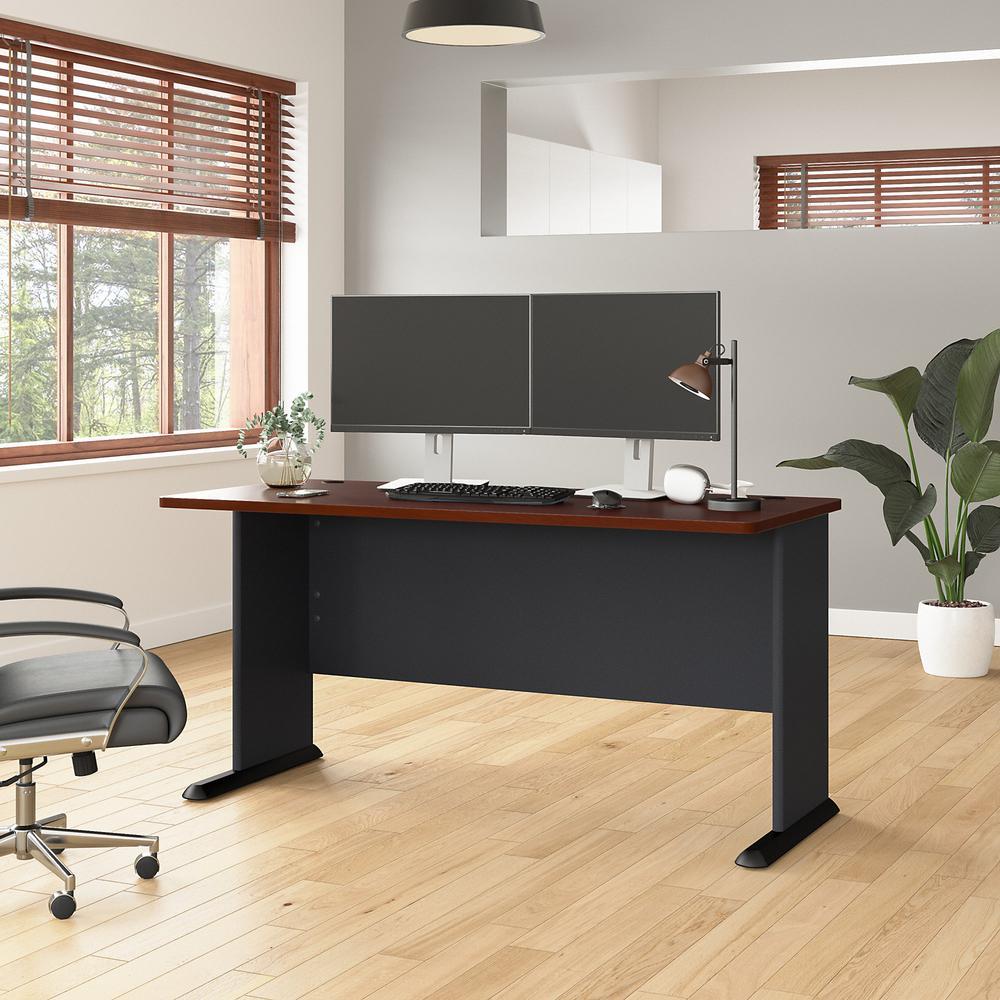 Bush Business Furniture Series A 60W Desk, Hansen Cherry/Galaxy. Picture 2