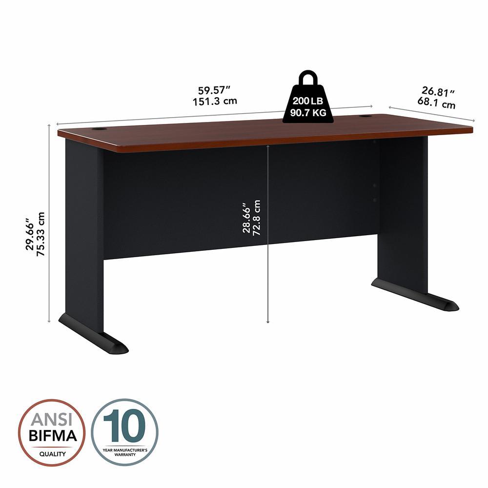 Bush Business Furniture Series A 60W Desk, Hansen Cherry/Galaxy. Picture 5