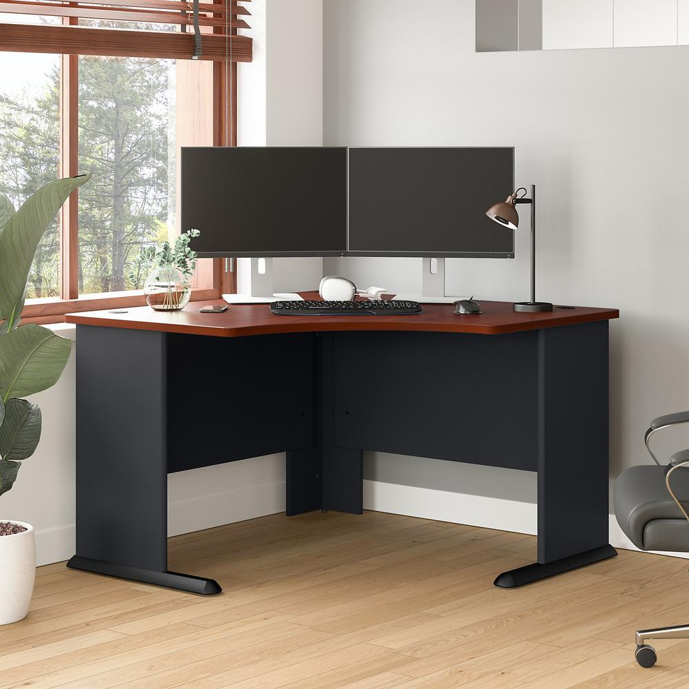 Bush Business Furniture Series A 48W Corner Desk, Hansen Cherry/Galaxy. Picture 2