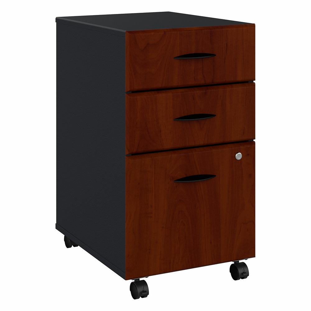 Bush Business Furniture Series A 3 Drawer Mobile File Cabinet, Hansen Cherry/Galaxy. Picture 1