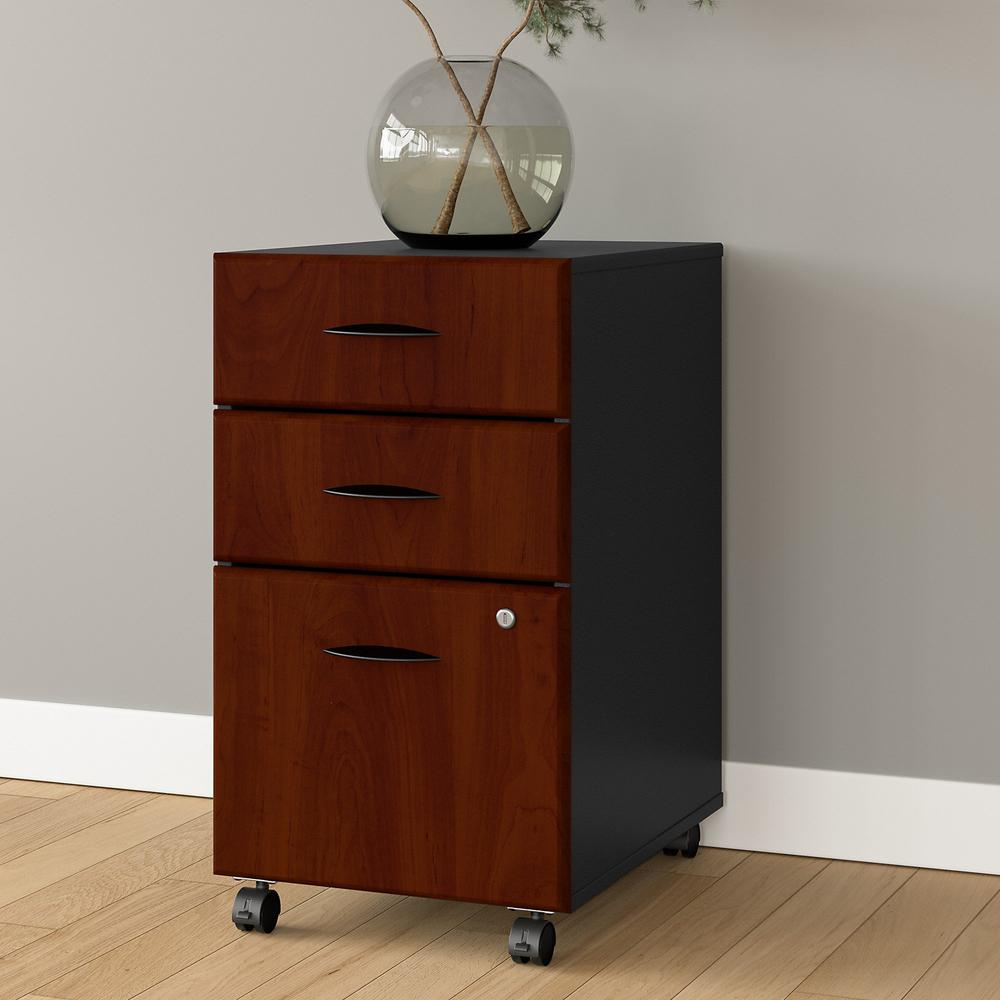 Bush Business Furniture Series A 3 Drawer Mobile File Cabinet, Hansen Cherry/Galaxy. Picture 2