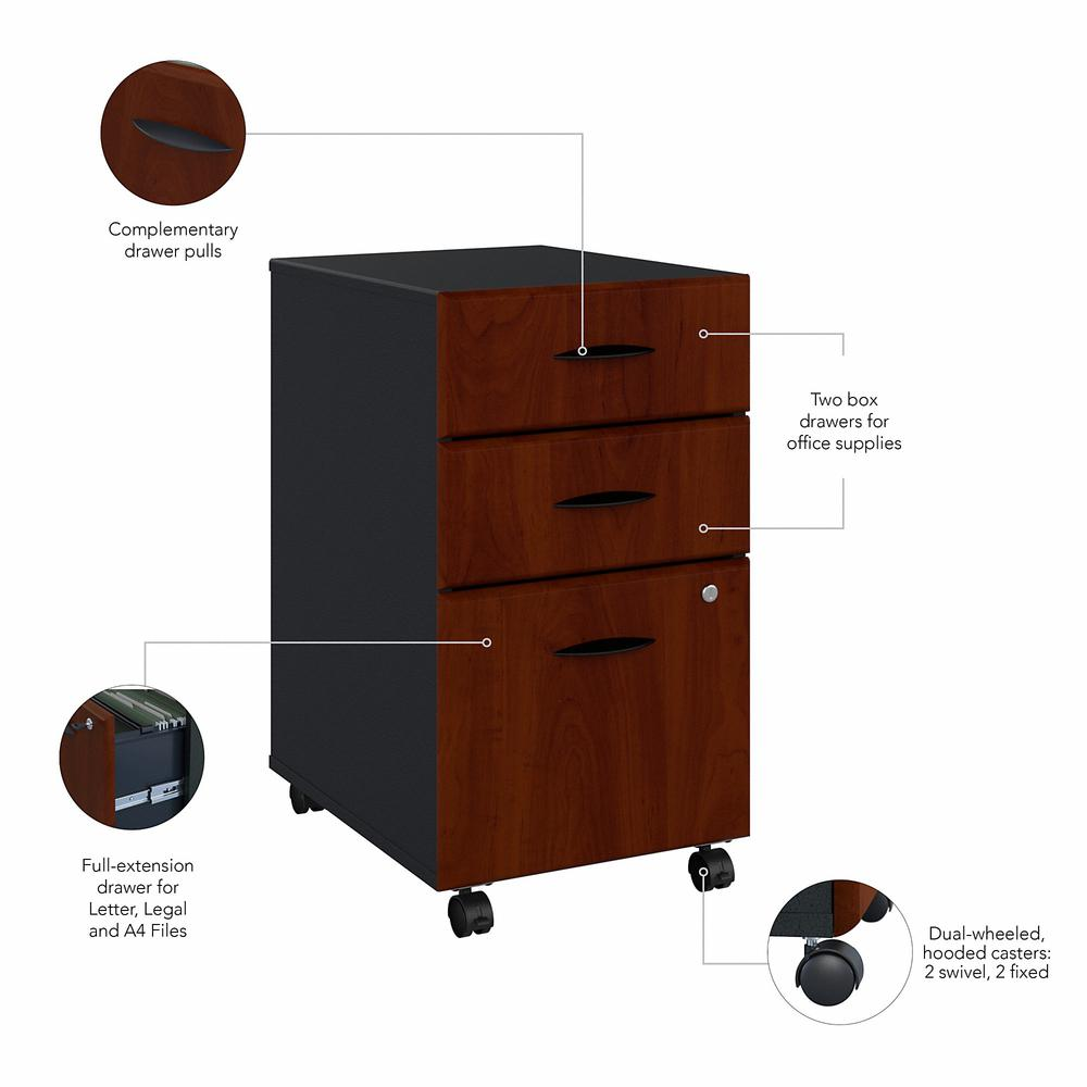 Bush Business Furniture Series A 3 Drawer Mobile File Cabinet, Hansen Cherry/Galaxy. Picture 3