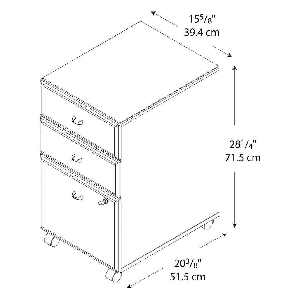 Bush Business Furniture Series A 3 Drawer Mobile File Cabinet, Hansen Cherry/Galaxy. Picture 7