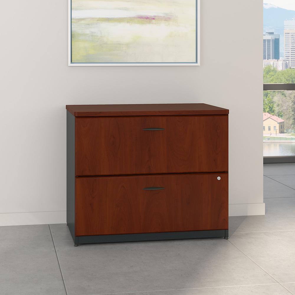 Bush Business Furniture Series A 36W Lateral File Cabinet, Hansen Cherry/Galaxy. Picture 2