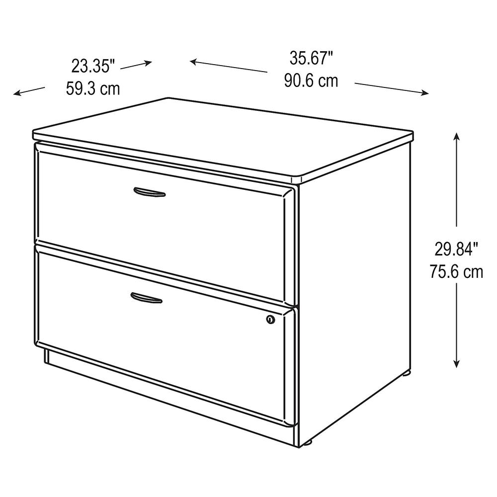Bush Business Furniture Series A 36W Lateral File Cabinet, Hansen Cherry/Galaxy. Picture 4