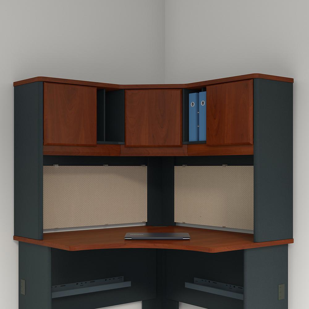 Bush Business Furniture Series A 48W Corner Hutch, Hansen Cherry/Galaxy. Picture 2