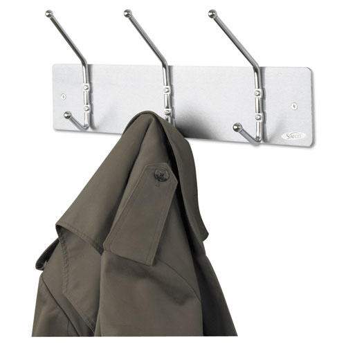 Metal Wall Rack, Three Ball-Tipped Double-Hooks, 18w x 3.75d x 7h, Satin Metal. Picture 1