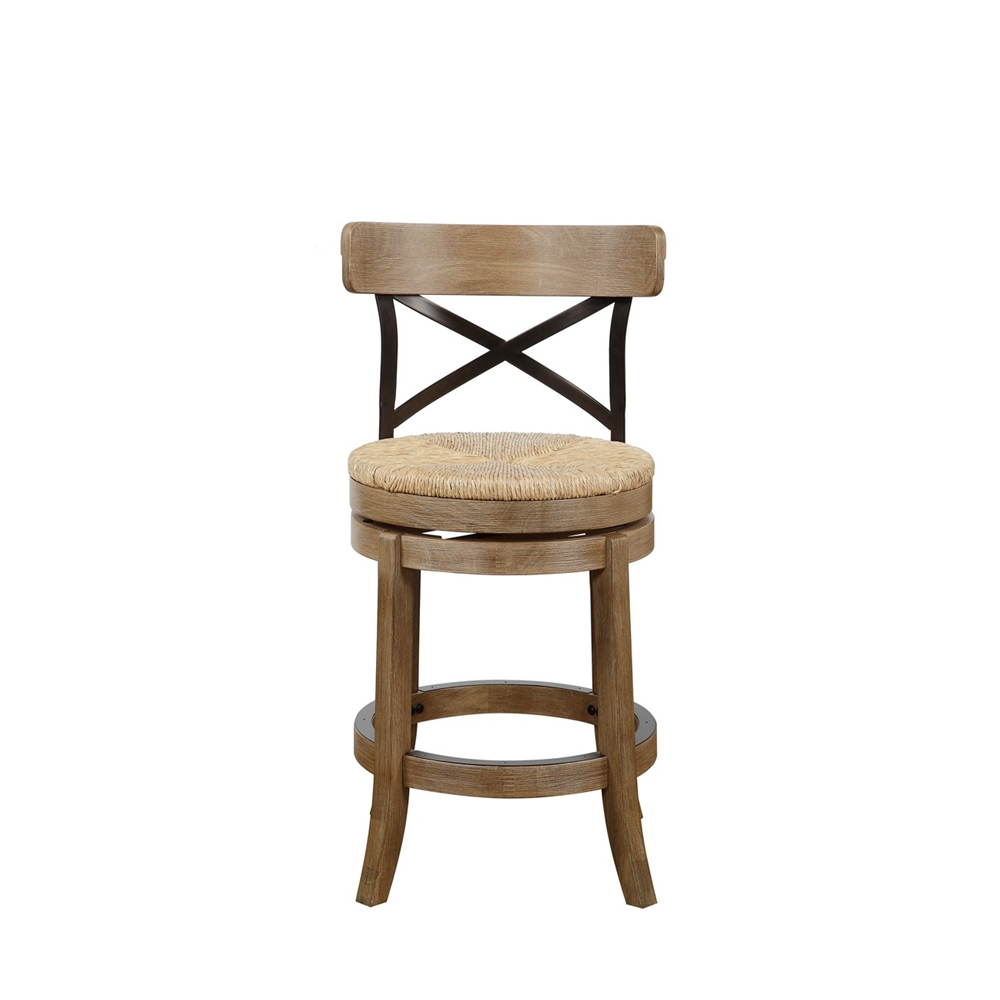 "24"" Myrtle Swivel Counter Stool , Wheat Wire-Brush"