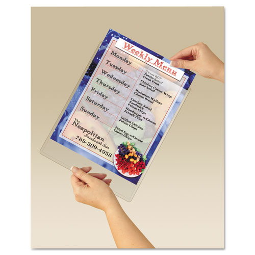 Display Pocket, Removable Interlocking Fasteners, Plastic, 8-1/2 x 11, Clear. Picture 4