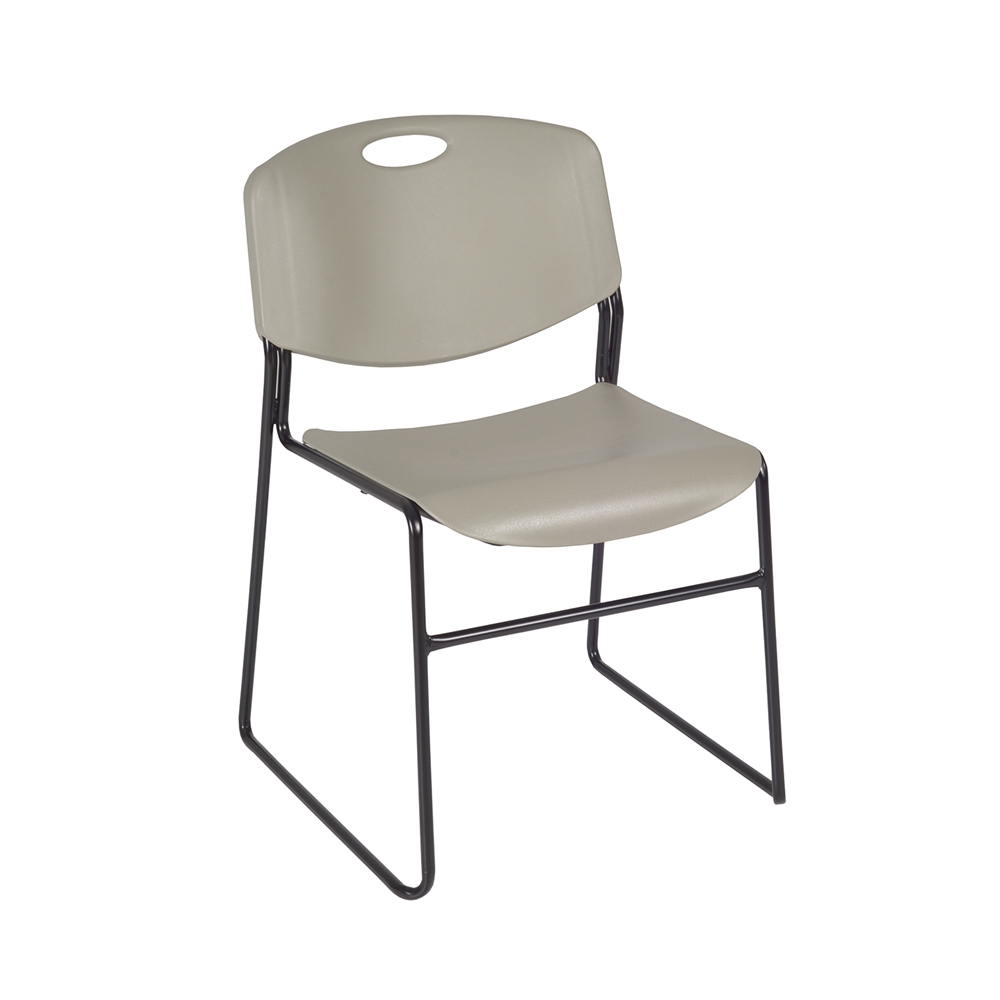 """Cain 36"""" Square Breakroom Table- Cherry & 4 Zeng Stack Chairs- Grey. Picture 5"""