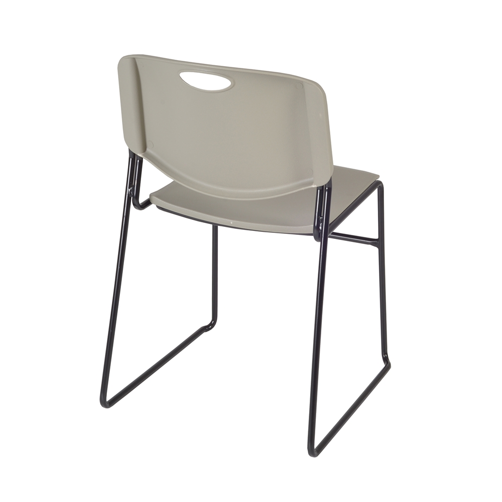 """Cain 36"""" Square Breakroom Table- Cherry & 4 Zeng Stack Chairs- Grey. Picture 6"""